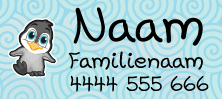 My Nametags iron-on name label pinguin design
